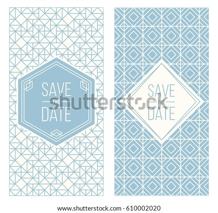 Two Retro Wedding Invitation Templates Abstract Stock Vector