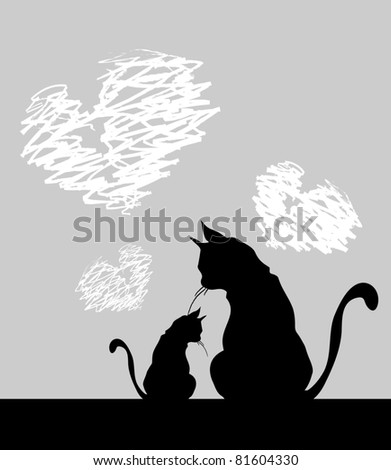 two romantic black cats - stock vector