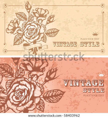 two romantic floral backgrounds with vintage roses - stock vector