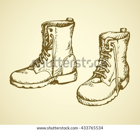 Two rough old reliable eyelets sole forces male boots isolated on white background. Freehand outline ink hand drawn picture sketchy in scribble retro cartoon style pen on paper. Closeup view - stock vector