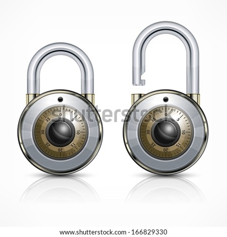 Two round metallic code padlock isolated on white, vector illustration - stock vector