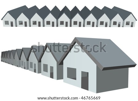 Two rows of connected house symbols as condominium construction. - stock vector