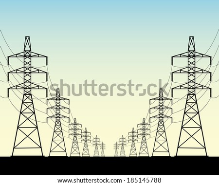 two rows of power line poles on a blue background