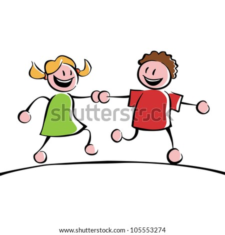 Two running kids (boy and girl) holding hands - stock vector