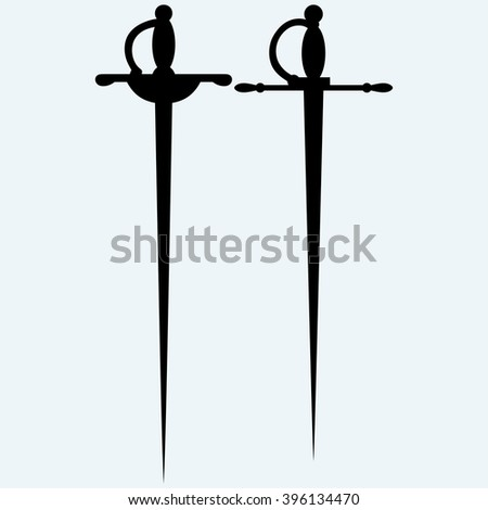 Two saber. Isolated on blue background. Vector silhouettes - stock vector
