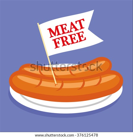 Two sausages or hot dogs on a plate with a white flag sticking out and the words Meat Free added in red text