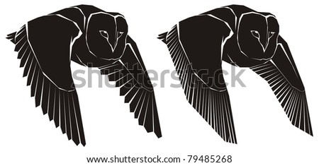 Two scary owls in flight - black and white vector cartoon illustration - stock vector