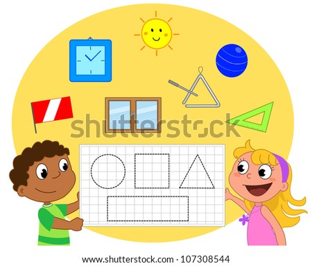 Two Schoolboys showing a geometry game about circle, square, triangle and rectangle. - stock vector