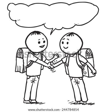 Two schoolkids shaking hands speaking - stock vector
