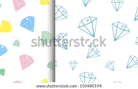 Two seamless texture with diamonds. vector illustration