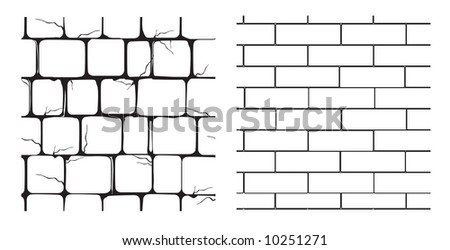 two seamless textures of masonry - stock vector