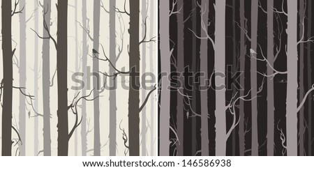 two seamless textures with trees and birds, light and dark, vector illustration - stock vector