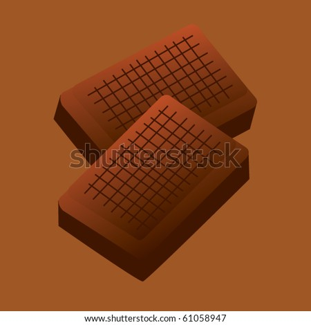 two section of chocolate - stock vector