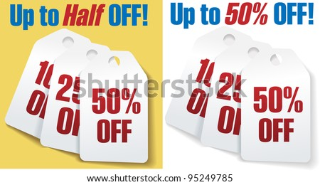 Two sets of three discount price tags 10 25 and 50 percent off sale - stock vector