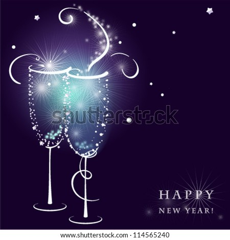 Two shining Champagne Glasses with Abstract Splash. Vector illustration. - stock vector