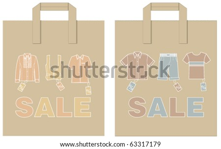 Two shopping paper bags - stock vector