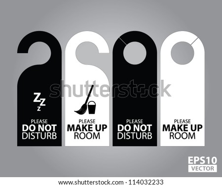 Two Side Black and White Door Hanger Tags for Room in Hotel or Resort - EPS10 Vector