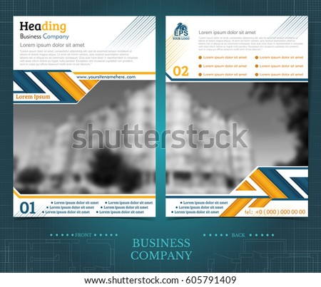 Two Sided Brochure Flayer Template Design Stock Vector 605791409