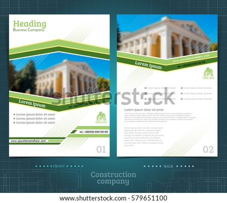 Two Sided Brochure Flayer Template Design Stock Vector 579651100