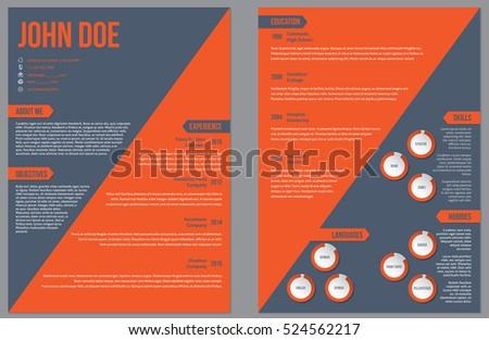 two sided resume curriculum vitae cv design template with large orange stripe - Curriculum Vitae Design Template