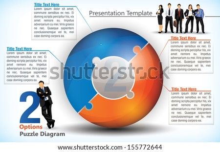 Two sided statistical wheel chart with additional elements - stock vector