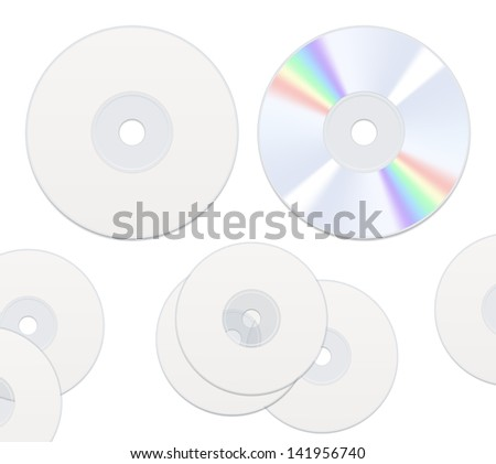 Two sides DVD or CD disc isolated on white - stock vector