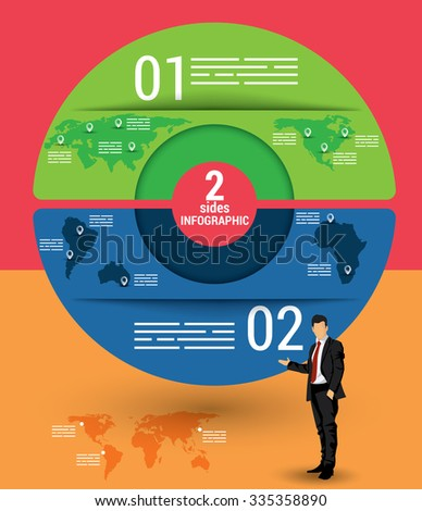Two sides infographic template, a vector chart with 2 options used for web, banners, reports, presentation and brochures. - stock vector
