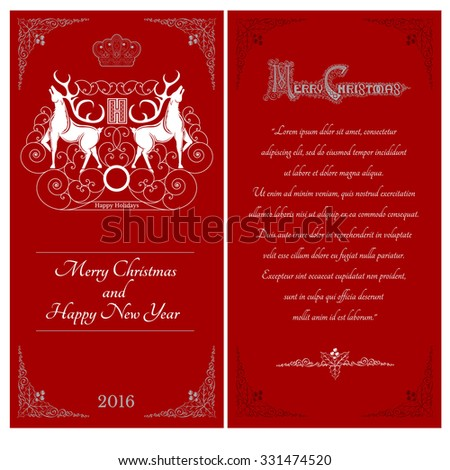 Two sides of christmas red postcard. Two white deers against one another with swirl pattern on caver  - stock vector