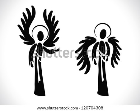 Two silhouettes of angels in various positions - stock vector