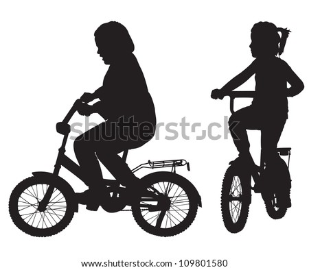 Two silhouettes of girl on the bicycle