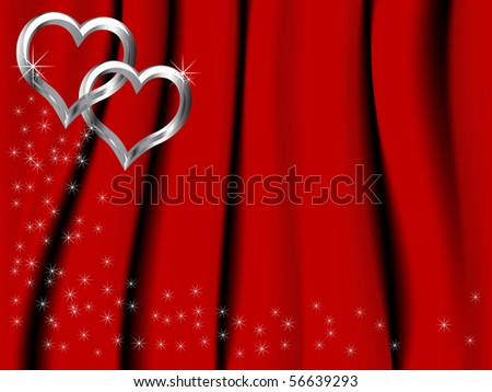 Two silver hearts on red background - stock vector