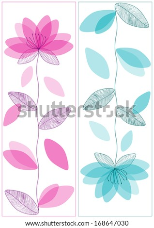 two simple vector flowers banners  - stock vector