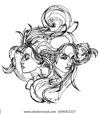 Gemini sisters twins stock images royalty free images for Gemini coloring pages