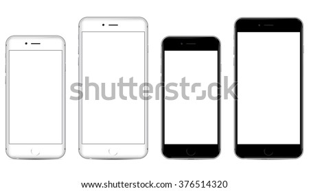 Two sizes of white and black mobile smartphone with blank screen isolated on white background, side by side. eps 10 vector illustration - stock vector