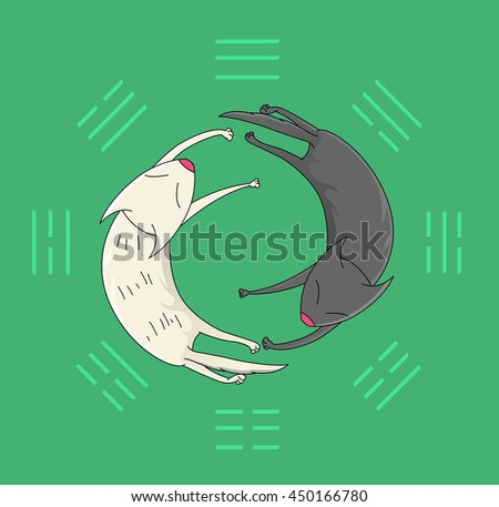 Two sleeping cats. Symbolic image of the mystical sign of Yin Yang  on the background of trigrams. Vector - stock vector