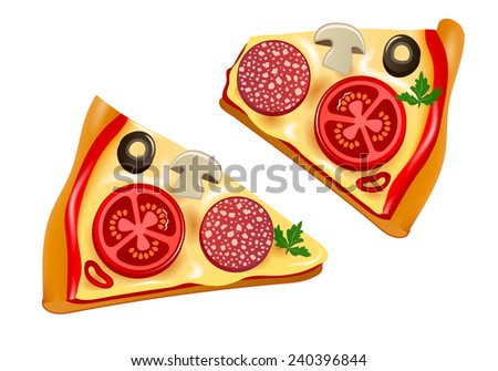 two slices of pizza - stock vector