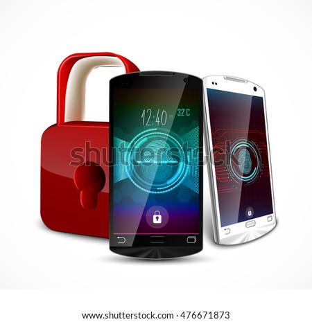Two smartphone with a fingerprint and a padlock ,concept of privacy and safety .Vector 3D illustration
