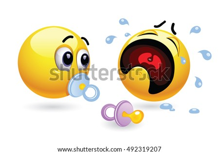 Two smiley toddlers with soothers. Humoristic illustration of babies presented through smileys. Vector illustration of cute smiley babies.