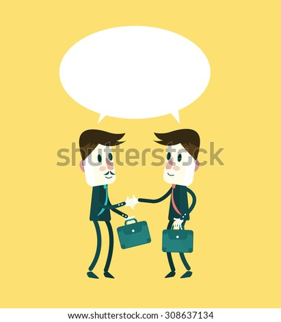 Two smiling businessmen in suits shaking hands and talking. flat character design. vector illustration - stock vector