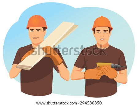 Two smiling carpenters in helmets. One holds wood planks. Other one holds a drill. Craftsmen team. - stock vector