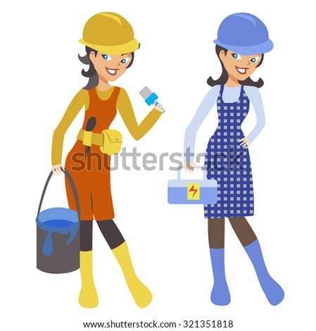 Two smiling hardworking women, painter and electrician. They wear helmets. - stock vector