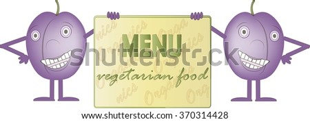 Two smiling purple plums, bord with inscription Menus, Vegetarian food, hands, legs, eyes, white background. Design element, package design, product packaging, label, children, vector, clipart, vector - stock vector