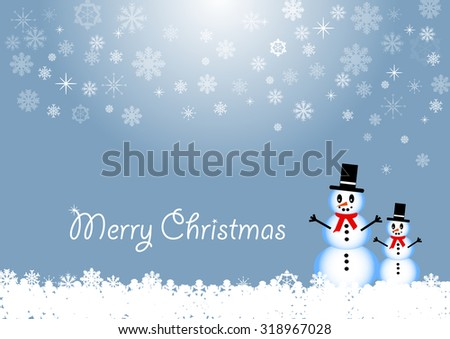 Two smiling snowmen are standing in white snow flakes. To their left is the inscription Merry Christmas. The background is in trendy blue gradient with snowflakes. - stock vector