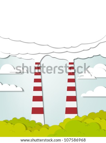 Two smoking chimneys pollution air - stock vector