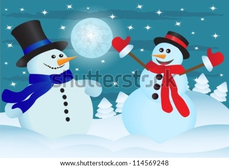 two snowmen in the night sky and the snow-covered forest - stock vector