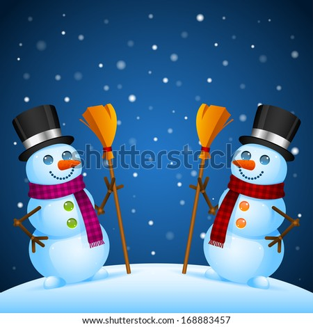 Two snowmen stand with broom