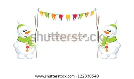 Two snowmen with festive garland. Vector illustration. - stock vector
