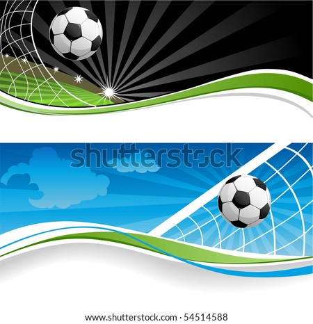 Two soccer banners - stock vector