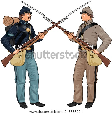 Two Soldiers From American Civil War Clashing Each Others Weapons, EPS 10 Vector - stock vector
