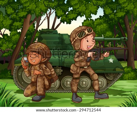 Two soldiers with armed by the tank - stock vector